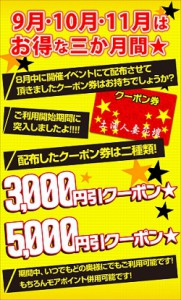 ◆クーポン券でお得な三か月◆