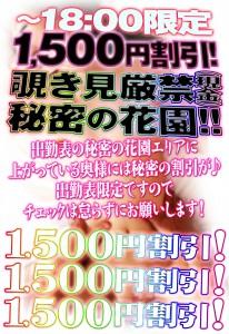 ~18:00限定1,500円割引!!覗き見厳禁(現金)秘密の花園!!