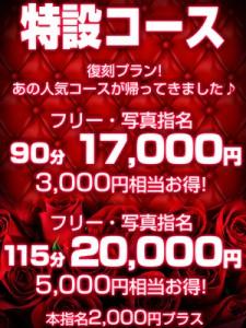 特設コース 90分17000円!